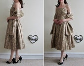 Emma Domb party dress . 1950 gold brocade PLUS matching wrap .small .sale
