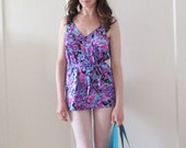 1960 skirted swimsuit . one piece pink purple maillot .extra large.xl.plus size .sale