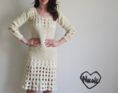 crocheted wedding dress . 1970 cream hand knit frock .small .sale
