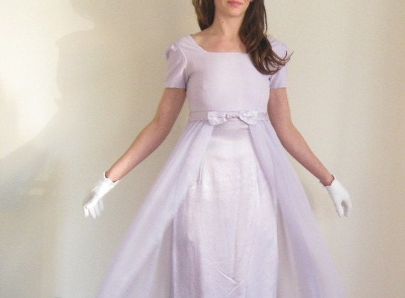 1960 column gown . pale lilac sheer ethereal dress .small .sale
