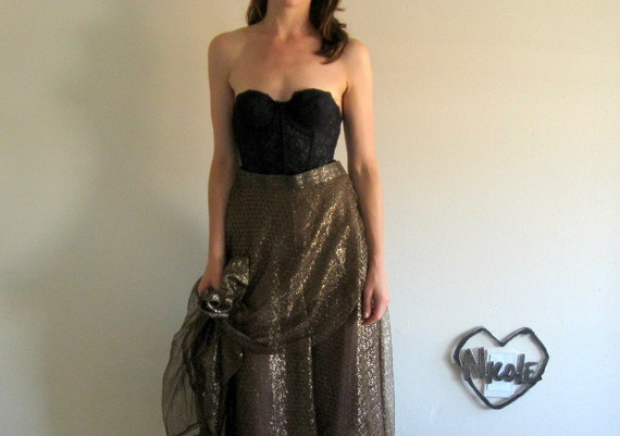 sheer metallic gold geometric 1960 high waist skirt .small