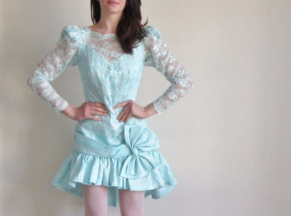 lace illusion party dress . 1980 huge BOW . robins egg blue .small.medium .sale