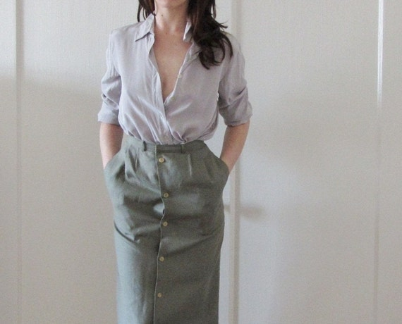 sage green high waist skirt . button down front . secretary dream .extra small