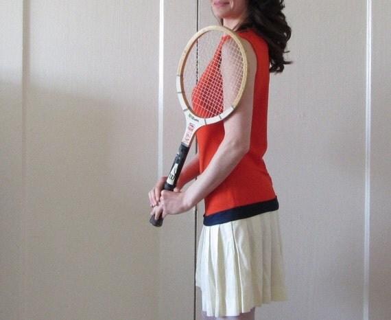 mod tennis champ mini dress . 1960 color block french open .small .sale s a l e