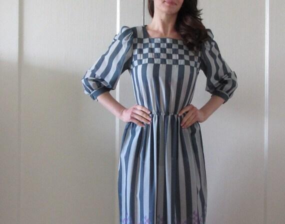 checkerboard chevron stripe dress . cheshire cat wonderland .small .sale