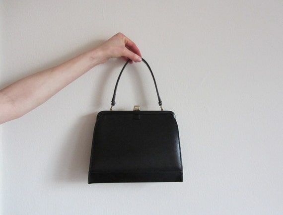 1950 black handbag of dreams . stiff leather lady coronette purse .sale