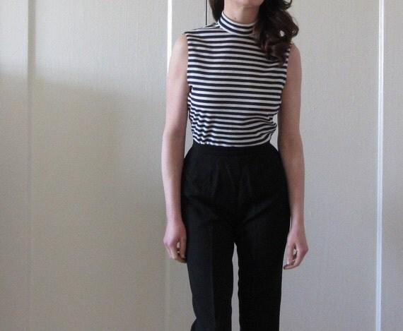 striped beatnik mod blouse . nautical poet .small.medium .sale