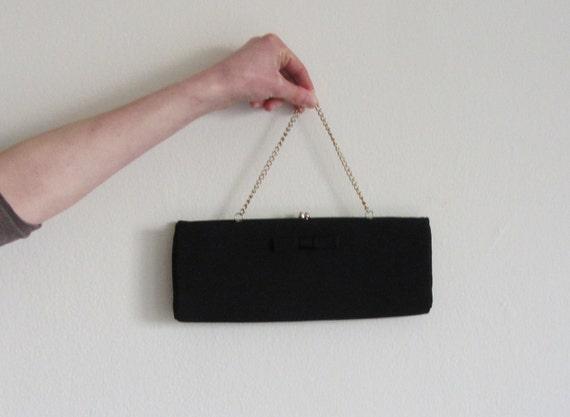 black BOW clutch purse . 1950 hollywood regency formal