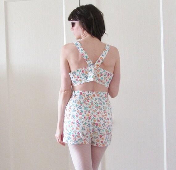 summer bra shorts set . two piece floral gitanoe beach wear .medium .sale