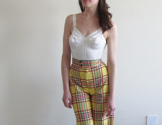 yellow plaid bell bottom pants . extra wide leg trouser .extra small.xs .sale
