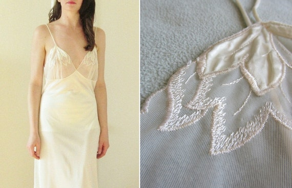 r e s e r v e d leaf bust wedding night dress . sheer ivory gown .medium.large