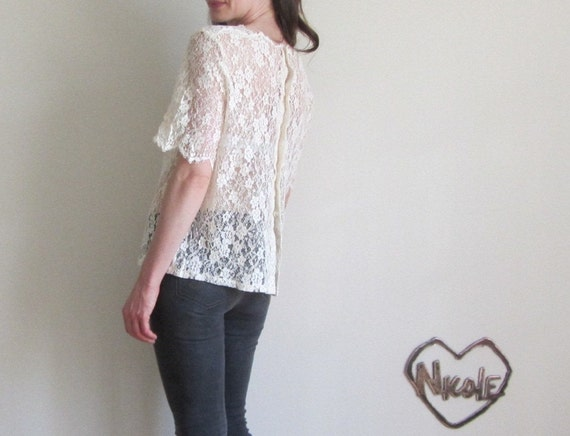 sheer lace blouse . cream scalloped floral net .medium.large.extra large