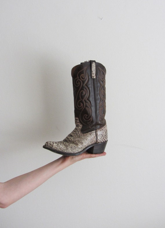 handsome cowboy boots . snakeskin alligator brown tan white .womens size 6.5 or 7