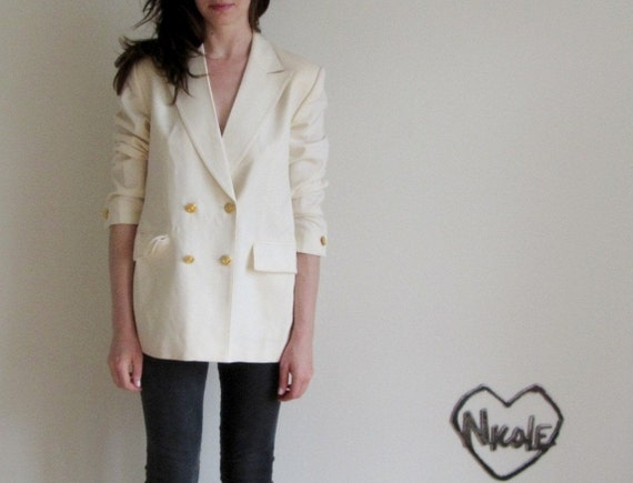 ivory yacht club blazer . cream gold jacket .large