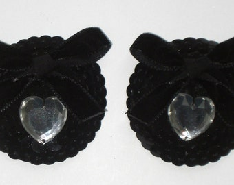 Toxic Glamour Burlesque Beauty black sequins and heart rhinestones nipple pasties