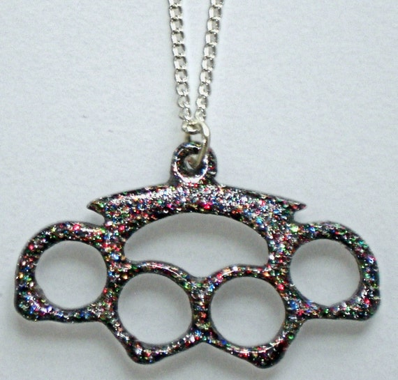 Punky Grrrl SMALL multi-colored glitter brass knuckles/knuckle duster necklace