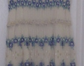 Vintage lace dress with blue flowers SMALL