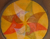 SALE Vintage Colorful Pinwheel Trivet for Hot Plate or Serving Dish 60s or 70s era