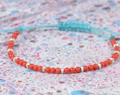 SALE-Sterling silver and red coral bracelet