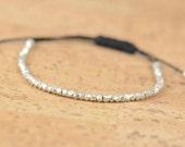 Faceted sterling silver beads - adjustable  bracelet