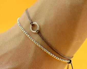 Sterling Silver beaded friendship bracelet