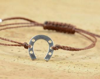 Horseshoe charm bracelet  sterling silver