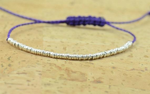 Sterling silver  beaded bracelet . Little hoops