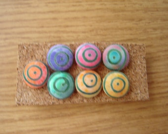 "Pushpins 8-5/8"" Fabric Covered Buttons Thumbtacks Multi-Colored Swirl Fabric"
