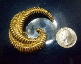 Vintage Monet Large Goldtone Spiral  Cresent  Brooch Pin