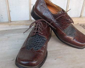 Vintage OSTRICH two tone brown & black  mens shoes by Ninji Classics size 9 mens