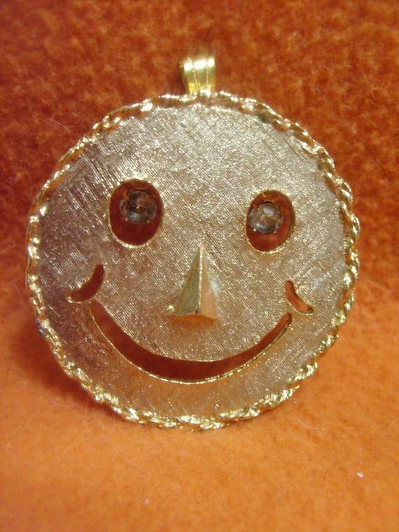 vintage Smiley Face Dangling rhinestone eyes pendant/brooch