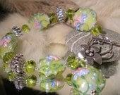 Reserved for Lisa Lampwork Bracelet FLORAL GEMS