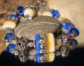 Lampwork Bracelet PEACEFUL BLUE