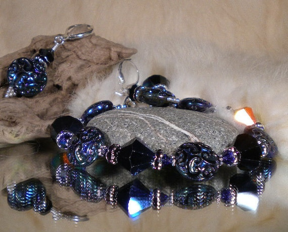 Bracelet and earring set - - MIDNIGHT SPECIAL - - Special June Price