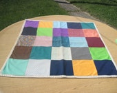 Vintage Home Made Baby or a Small Child Patch Quilt 38 inches by 37 inches
