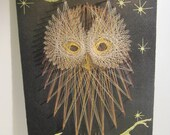 Vintage Handmade Thread Owl Picture