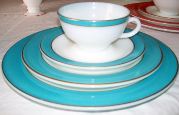 VINTAGE Turquoise with Gold Trim Pyrex  4 piece Place Setting    Reserved