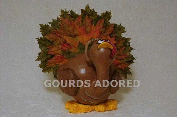 Turkey centerpiece gourd by gourdsadored on etsy
