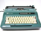 Vintage Blue Smith Corona Sterling Automatic 12 Portable Manual Typewriter
