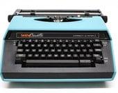 Vintage 1982 Brother Cassette Blue Portable Electric Typewriter