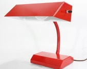 Vintage Red Gooseneck Metal Electric Desk Lamp