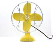 Refurbished Retro Yellow Electric Fan