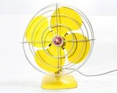 Refurbished Retro Vintage Yellow GE Electric Fan
