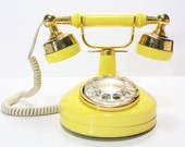 Refurbished Retro Western Electric Yellow Rotary Telephone