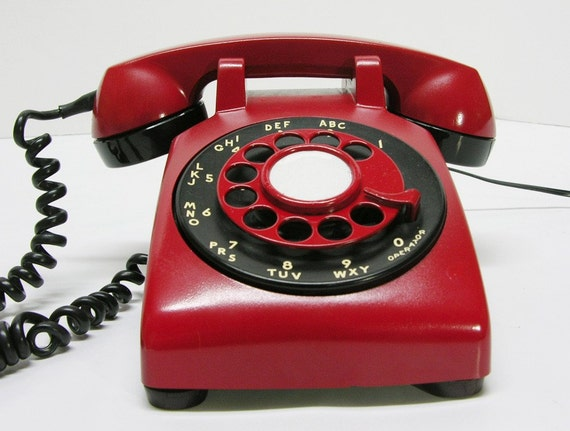 Vintage Retro Red Bell Rotary Telephone