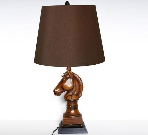 Lamp Shade On Head : Vintage ceramic horse head lamp