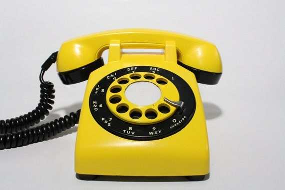 Refurbished Retro Yellow Bell Rotary Telephone