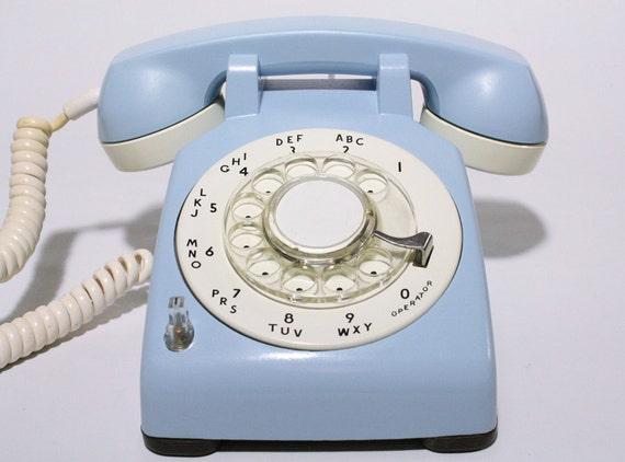 Refurbished Bell Rotary Aqua Blue Telephone