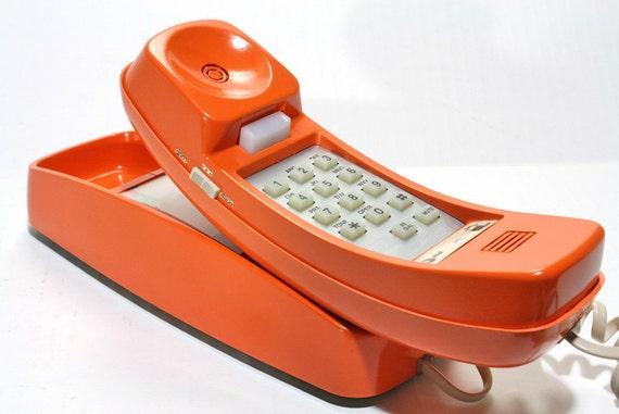 Vintage Retro Orange  Bell Western Electric Rotary Wall Telephone