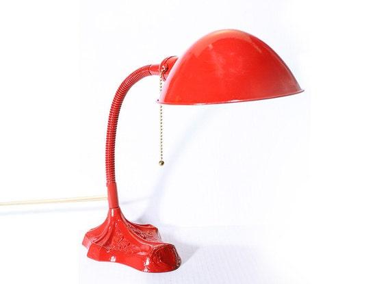 Vintage Gooseneck Red Metal Electric Desk Lamp
